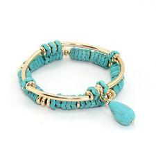 N1008 Copper Bangle Stretch Crystal Turquoise Stone Bracelet Double Layered Set