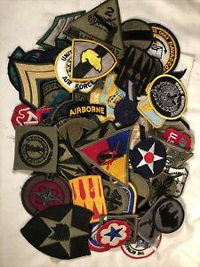 Vintage Mix Lot Of 75 Military Patches WW2 Army Infantry Air Force Navy Marines