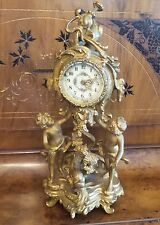 "ANTIQUE ART NOUVEAU GOLD GILT  NEW HAVEN MANTEL CLOCK CUPIDS AND FISH 15""H"