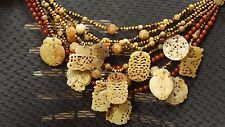 STEPHEN DWECK NECKLACE Multi 9 Strand Gemstone carved
