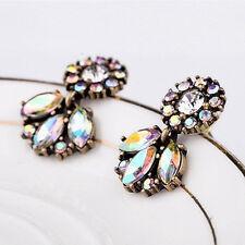 Hot Women Lady Bohemian Resin Rhinestone Crystal Flower Dangle Earring