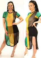 Rasta Multicolour Side Slit Ladies String mesh fishnet Midi Dress Beach Cover up