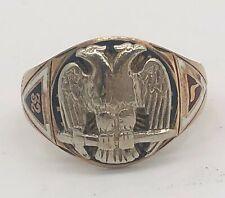 Vtg 10k Yellow Gold 32nd Degree MASONIC Double Eagle Ring--Sz 10.5 NO RESERVE
