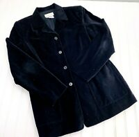 J JILL Size 8 Black Velvet Fitted Blazer