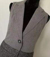 CAbi Women's Gray Black Collared Long Dress Vest Size Extra Small XS Button