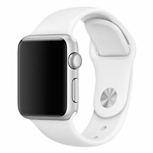 Sport Band for Apple Watch, Soft Silicone Strap (White)
