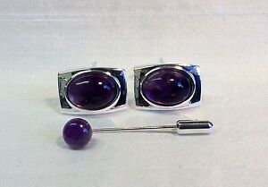 Rectangular Cufflinks with Amethyst stone and Cravat/Tie Pin, Silver plated.