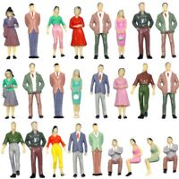 100pcs Model People 1:50 O Scale Figures Standing Seated Train Layout