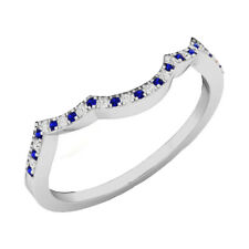 0.12 CT 10K White Gold Blue Sapphire & White Diamond Ladies Wedding Band Ring
