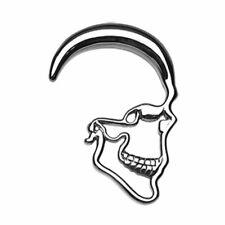 (Sold as a Pair) 4 gauge Skull Ray Steel Ear Gauge Hanging Tapers