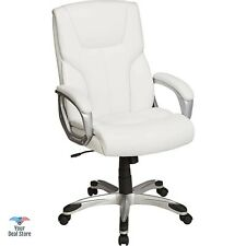 White Desk Chair Gaming Computer Chairs Executive Office Leather Seat High Back