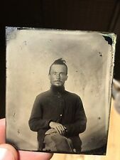 Nice Antique Intense Ragged Civil War Soldier Tintype Photo Case Patched Pants