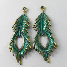 10 pcs Retro Style Alloy Green Peacock Feather Charms Necklace Pendant Findings