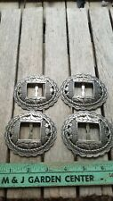 """4 Large Heavy Slotted Western Round Silver Tone Crafts Leathercrafts Conchos 3"""""""