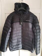 CROSSHATCH Mens Puffa Bomber Jacket Thick Grey/Black Hood Logo Casual Sz XXL