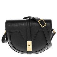 Celine Womens Small Besace 16 Shoulder Bag in Grained Calfskin Black
