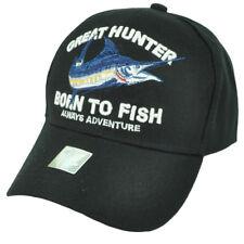 Great Hunter Born To Fish Fishing Hat Cap Black Adjustable Water Outdoor Sport