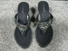 Bamboo Black Wedge Style Sandals with Multi-Color Beads/Braided Trim, Size 5.5