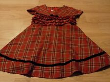 Toddler Size 3T Bonnie Jean Christmas Holiday Dress Red Black Plaid EUC