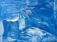 "BLUE SEASCAPE ABSTRACT Original Acrylic Impasto Painting 9""x12"" Julia Garcia"