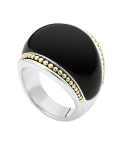 LAGOS Sterling Silver 925 Enso Black Agate Dome Ring 18k Gold New