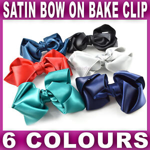 LARGE SATIN BOW on a beak clip ponytail hair accessories school Girls Ladies NEW