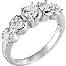 Graduated Round Diamond Ring, Wedding Anniversary Band 14k White Gold 0.91 tcw