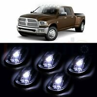 5x Smoke Cab Roof Marker Running Lamps w/White LED For 03-16 Dodge Ram 2500 3500