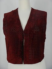 Vintage Womens Redish Brown Leather Suede Gilet Waistcoat Vest Top Size UK 10