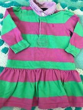 Ralph Lauren Toddler Girl 18 Month Rugby Stripe Pink And Green Long Sleeve Dress