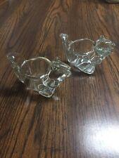 2 Vintage Avon Glass Squirrel Votive Tea Light Candle Holders