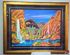 Linda Pirri Painting Red Rock Canyon Falls Original On Silk Signed Liquid Gold