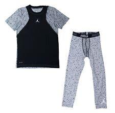 Nike Boys Jordan Dri-Fit Training Shirt Tights Set Cement Print Youth Medium
