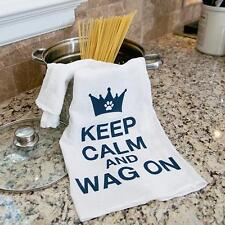 """100% Pre-washed Cotton Kitchen Towel 28"""" x 29"""" - Keep Calm and Wag On"""