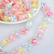 1000 6mm Facetado Acrílico Plata iridiscente granos congelada la fabricación de joyas artesanales