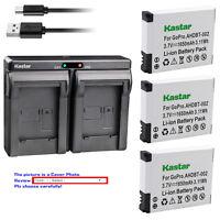 Kastar Battery Dual Charger for AHDBT 001 AHDBT 002 & Gopro HD Helmet HERO