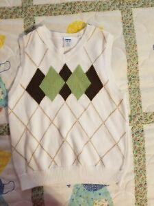 EUC Gymboree Boy's Small (5-6) Sweater Vest: White, Brown and Green