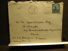 1928 RMS BERENGARIA Naval Cover PASSENGER Mail PRINCETON, NJ to PARIS, FRANCE