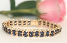 14k Yellow Solid Gold Two Rows Bracelet, Natural Oval Sapphire 14TCW, 7inches.