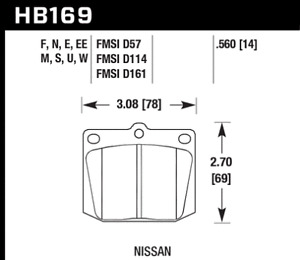 Hawk Disc Brake Pad-Base Front for Triumph / Datsun / Toyota # HB169F.560