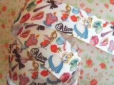 1M x Alice in Wonderland GROSGRAIN RIBBON Craft Hair Bow Cake 22MM *UK*