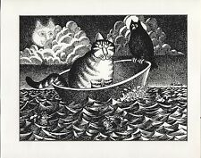 Kliban Cat Boating with a Bird, Kliban CatFish. Vintage 1981 print. 9 x 11