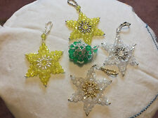 Collectible Holiday Christmas Hand beaded 4 stars 1 bell 4-5 Inches Long Nice