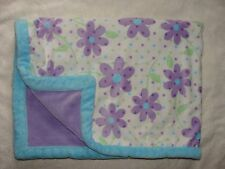 Okie Dokie Baby Girl Blanket Purple Blue Flower Thick Trim Polka Dots Soft