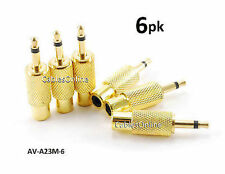 6-PACK RCA Female to 3.5mm Mono Male Plug Gold-Plated Audio Adapter, AV-A23M-6