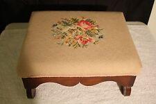 1910s Antique American Empire Mahogany footstool foot rest original needlepoint