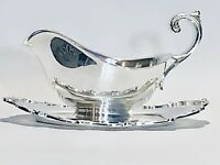Fabulous Vintage Webster Wilcox International Silver Plated Gravy Boat With Tray