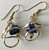 14 K Gold Earrings Bead Blue Lapis Dangle style - 4 Grams pretty Unique Design
