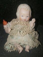 Vintage Miniature Dollhouse Georgian Infant Doll in Lace Dress w/Bottle CUTE!