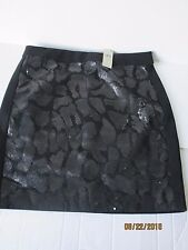 NWT Ann Taylor Black Jersey Stretch Sexy Pencil Skirt Sequined Front sz.8